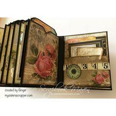 Inside Ginger's Mini Album using the Garment District Kit at Scrapbook Maven