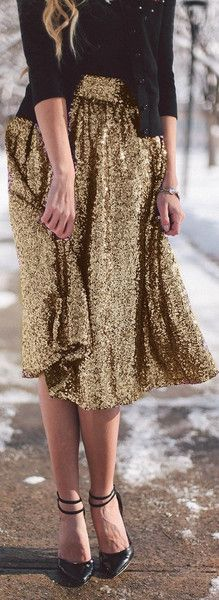 Merry & Bright Sequin A-Line Midi Skirt - Gold NOW AVAILABLE!