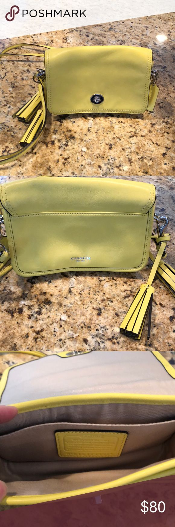 """Authentic coach bag Used once small banana color coach pocketbook.  In perfect condition.   Has tassel on side and has small pocket inside bag and one in the outside.  No stains or rips.  Length=7"""" Width= 6"""" Depth = 4"""" Drop = approx 22"""" Coach Bags Crossbody Bags"""