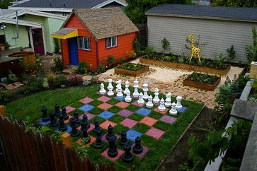 Giant Plastic Chess Set with Colorful Chess Board eclectic-outdoor-products