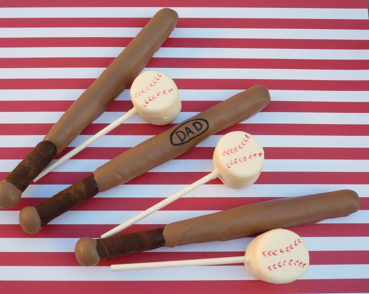 Baseball - pretzel bats & marshmallow ballsBasebal Bats, Chocolates Covers, Marshmallow Pops, Pretzels Bats, Baseball Bats, Baseball Seasons, Parties Ideas, Basebal Seasons, Marshmallows Ball
