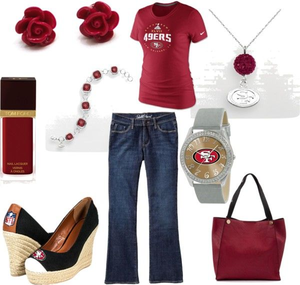 NFL wedges? Niners watch? Yes. Loving this Niners game day outfit for the playoffs.
