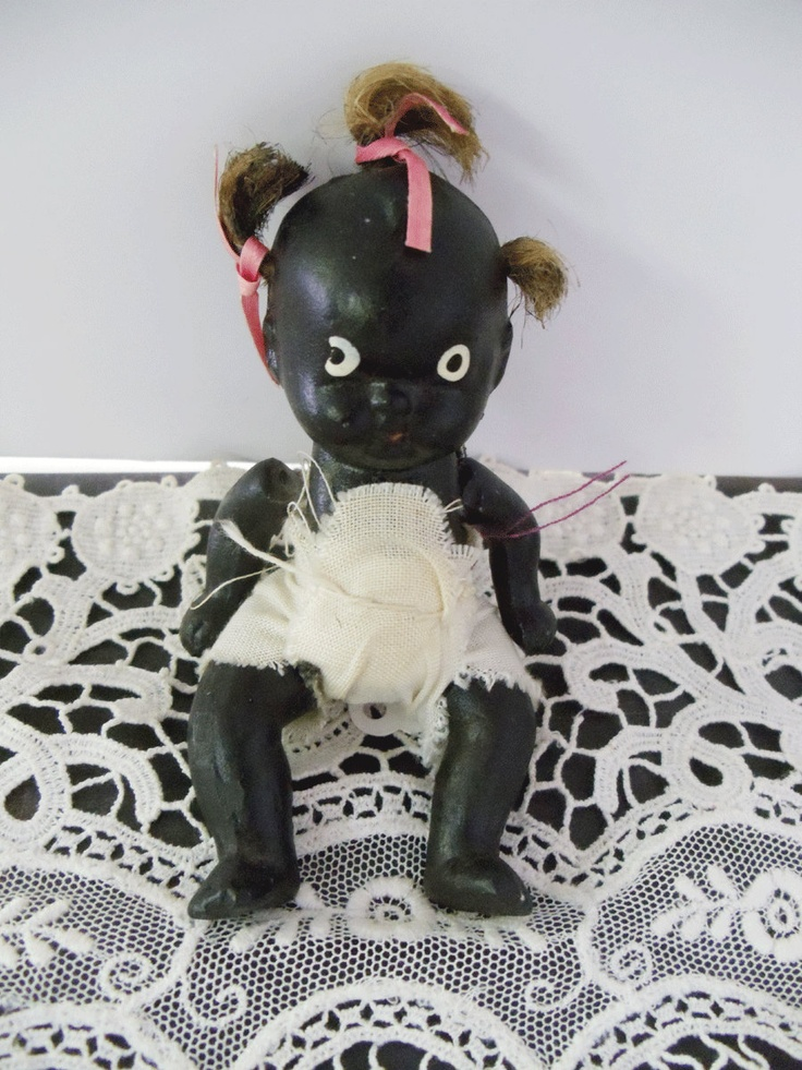 Vintage Black Americana Bisque Doll 4 Inch Jointed Baby