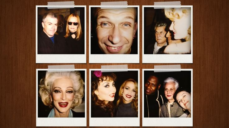 (Top L-R) Tim Blanks with Veruschka; Jean Paul Gaultier; Tony Curtis and Jill Vandenberg; Andre Leon Talley, Evangeline Blahnik, Paloma Picasso; Marie Helvin and Jerry Hall and Carmen Dell'Orefice | Source: Tim Blanks