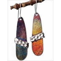 Arlene Mornick:  patinated copper and silver earrings eProject