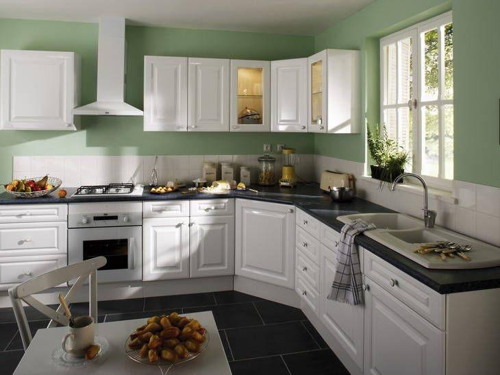 Cuisine leroy merlin vert et blanche cet d co fait tr s for Panneaux muraux cuisine leroy merlin