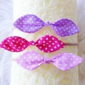 Set of 3 Pink & Purple Polka Dot Fabric Headbands