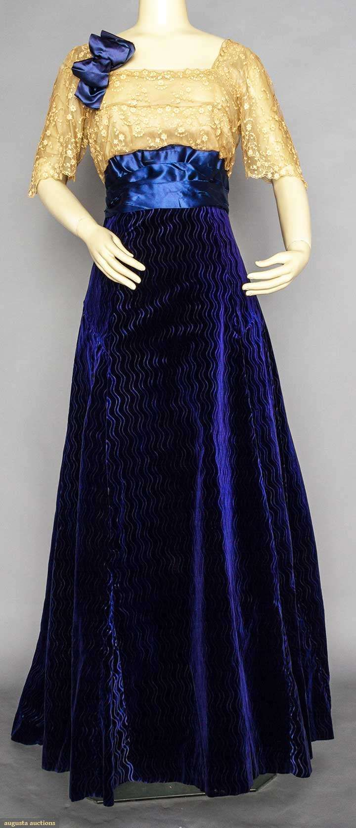 Evening Gown (image 1) | 1910-1912 | velvet, satin, lace | Augusta Auctions | November 11, 2015/Lot 29
