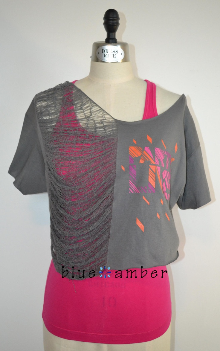 Shredded Cap Sleeve Crop Top - Deconstructed Cut Slashed Refashioned Upcycled Party Live Dance Fitness T Shirt. $32.00, via Etsy.