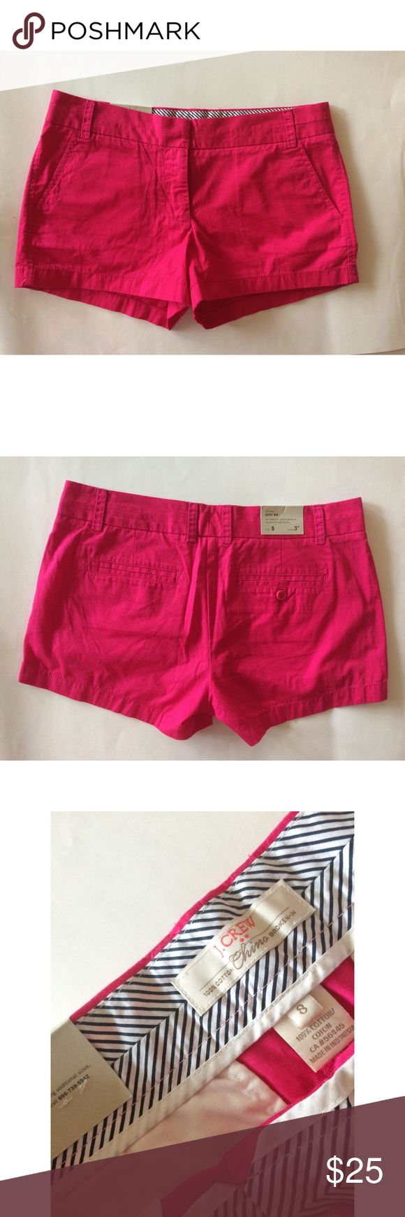 """J.Crew Factory City Fit 3 Chino Hot pink Shorts Get these hot pink J.Crew Factory City Fit 3 Chino Shorts for your spring and summer wardrobe! 🌺 Size 8. 🌺 New With Tags. Measurements are: waist : 17"""". Rise is: 8.75"""". Inseam is 3"""". Please use measurements to determine personal desired fit.  As I'm not responsible for wrong fit. ♥️Bundle your items to save. Take a look at my closet for items for your whole family.  (The last photo is the same City Fit Chino 3"""" but in red.)  I have the hot…"""