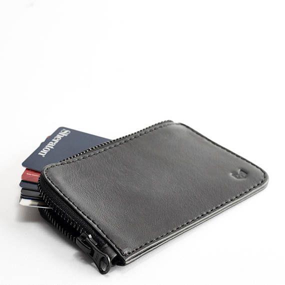 f148ec7ed4d9 Black Leather Zip Card Holder Men