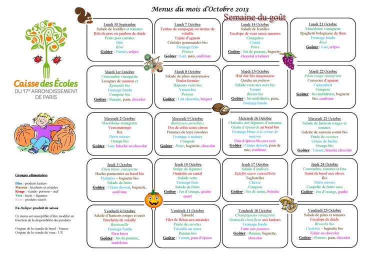 french kids school lunch menus from a different city each week