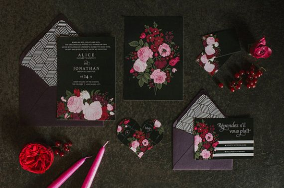 This dark and romantic invitation suite, titled Alice, is perfect for a dreamy amorous wedding, bridal shower, birthday party or dinner party