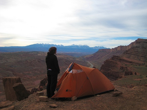 My friend Zack took this one of me and my tent in Moab, Utah.