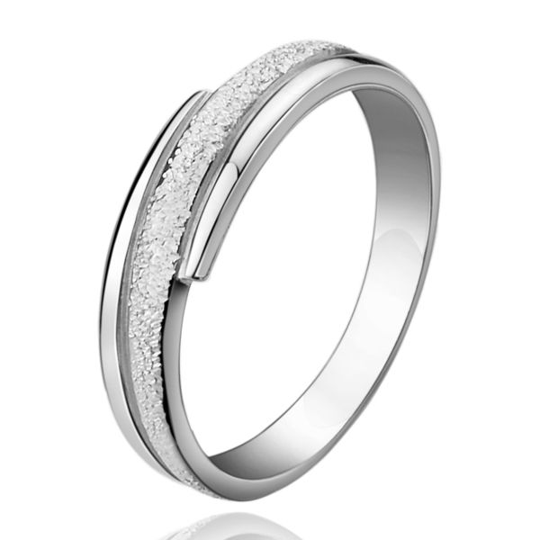 Hammered Center Polished Edges Couple Promise Ring 925 Sterling Silver Wedding Band With Double Grooves Matching His And Hers Jewelry Set For