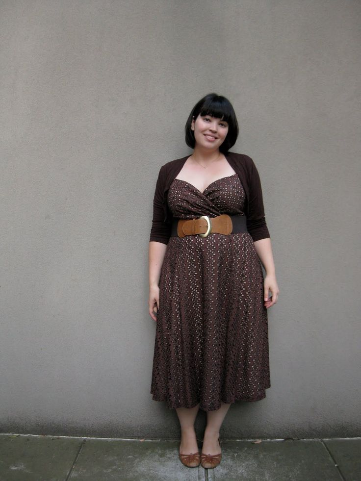 Belted brown dress