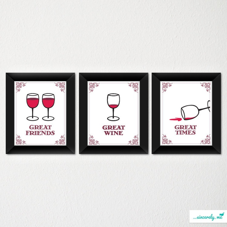 Modern Wine Glass Art Print / Great Gift for any Occasion / Kitchen Décor / Choice of color / Set of 3. $45.00, via Etsy.