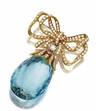 Aquamarine and Diamond Brooch Tiffany & Co.