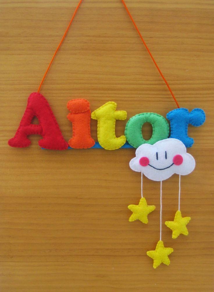 Baby name felt rainbow, cloud and stars - Nombre bebe con arco iris, nube y estrellas en fieltro CONTACT: carmenmissfabulas@gmail.com
