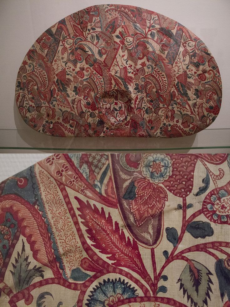 Sunhat lined in chintz, the outside would only show a border. Shape is specific to Friesland, where a large lace cap in the same shape (Duitse muts) would be worn underneath.