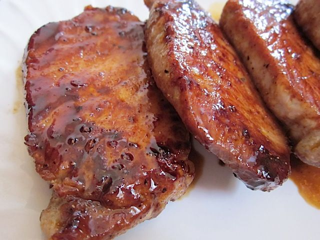 glazed pork chops- amazingly good! I followed the recipe except that I put them in the crockpot with about 2-3 cups of apple juice and let cook on low all day (about 8 hours). SO tender, no need for a knife!