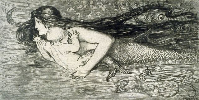 "Vintage illustration by Amelia Bauerle (Bowerley) (1873 – 1916), ""Mermaid swimming with a child"""