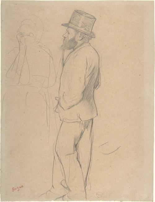 Edouard Manet en las carreras, dibujo de Edgar Degas (1834-1917, France)