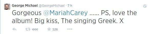 """C'est pour remercier Mariah Carey que George Michael est apparu sur Twitter cette nuit : """" Merci d'avoir repris One More Try, c'est un honneur d'avoir une des plus belles voix au monde qui chante ma chanson """" . Twitter s'est enflammé cette nuit suite..."""
