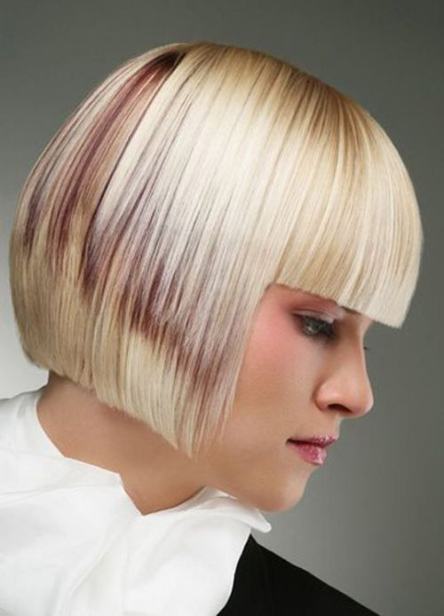 accurate bob haircut with creative coloristic solution (to soften ther look) and bangs