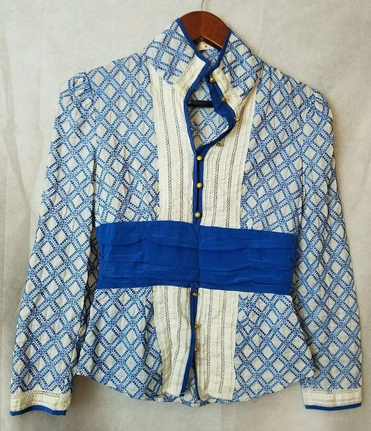 Used PLENTY Tracy Reese xs Blue sexy Deep V Neck Top Shirt  #PlentyTracyReese #Top