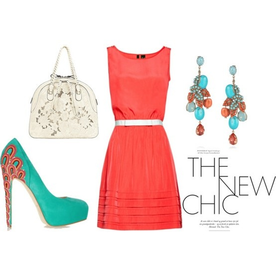 Coral dress. Love! Bridal shower???