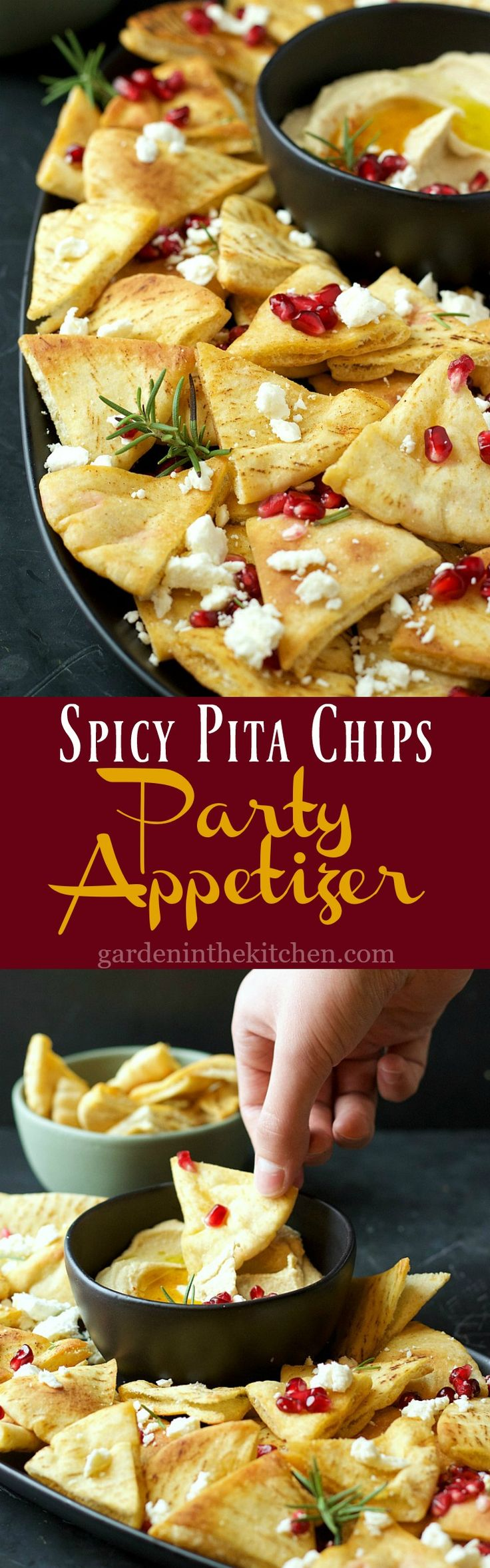 Spicy Pita Chips Party Appetizer | Garden in the Kitchen #partyfood #appetizer #pitachips #holidayappetizer