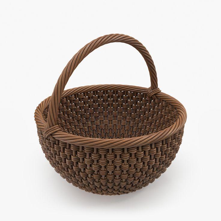 3d realistic wicker basket