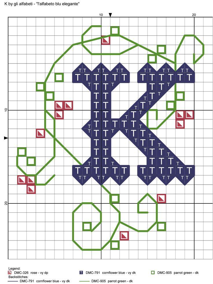 alfabeto blu elegante K