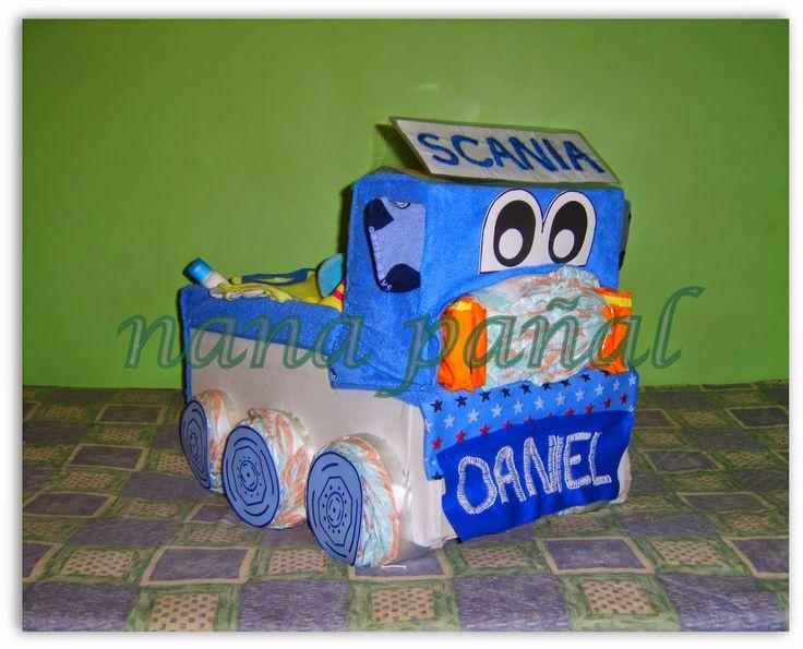 PAÑALES PARA REGALAR: Camión Scania de pañales para Daniel