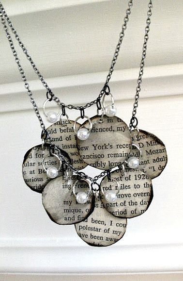 Jewelry AND books together - how cool is that! Instructions are here: http://www.mandipidy.com/2010/11/tutorial-book-page-necklace.html