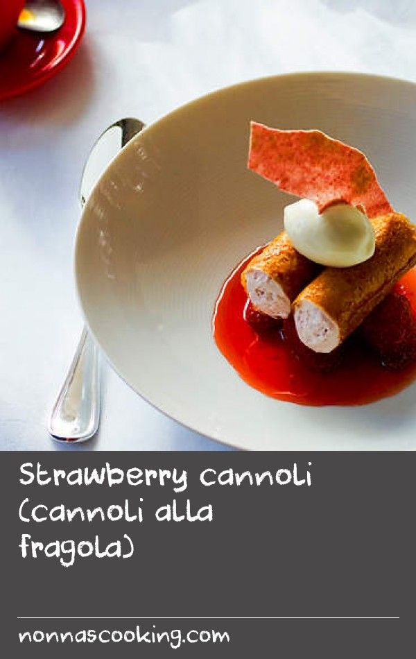 Strawberry cannoli (cannoli alla fragola) | Featuring fresh strawberries and verjuice, these cannoli are the perfect combination of crispiness and creaminess. Serve with gelato di yoghurt (yoghurt sorbet)for even more flavour. If you like, substitute making the cannoli for ready-make cannoli shells.