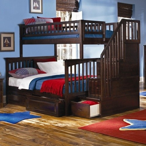 Atlantic Furniture Columbia Staircase Bunk Bed With Raised Panel Drawer