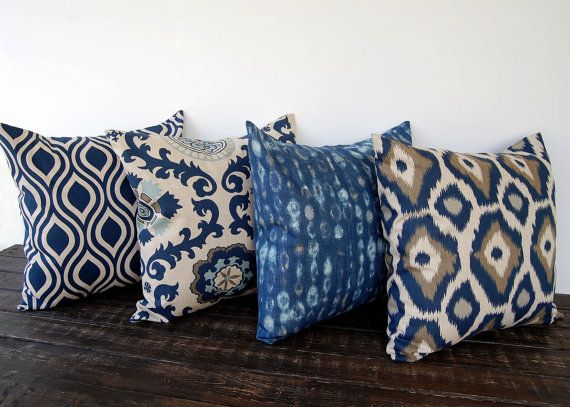 Navy Blue pillow cover 16 x 16 one blue gray by ThePillowPeople, $18.00