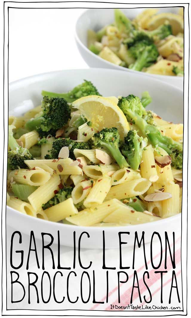 One pot, 20 minutes to make, gluten-free, vegan, Garlic Lemon Broccoli Pasta! This super quick and easy meal is perfect for a busy weeknight or to carb up after a long run. #itdoesnttastelikechicken