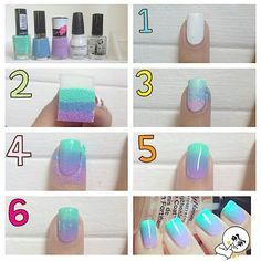 Step by step way of making ombre nails.