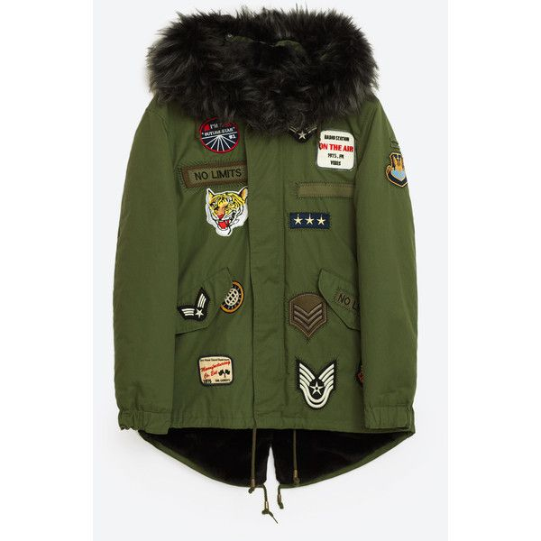 PATCH PARKA COAT - NEW IN-WOMAN | ZARA United States (284500 PYG) ❤ liked on Polyvore featuring outerwear, coats, parka coats, green parka coat, green parkas, green coat and patch coat