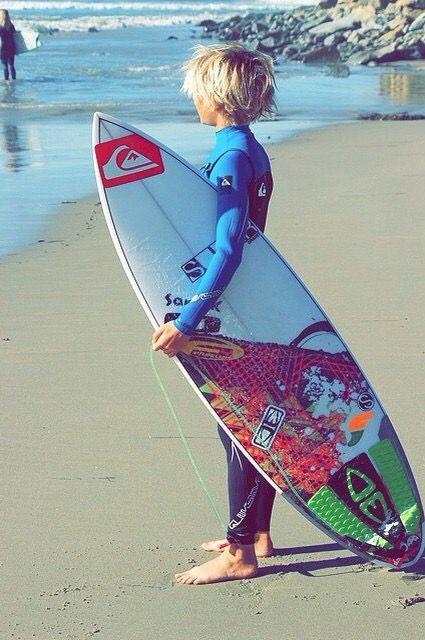 Just a little blonde surfer boy at the beach :)