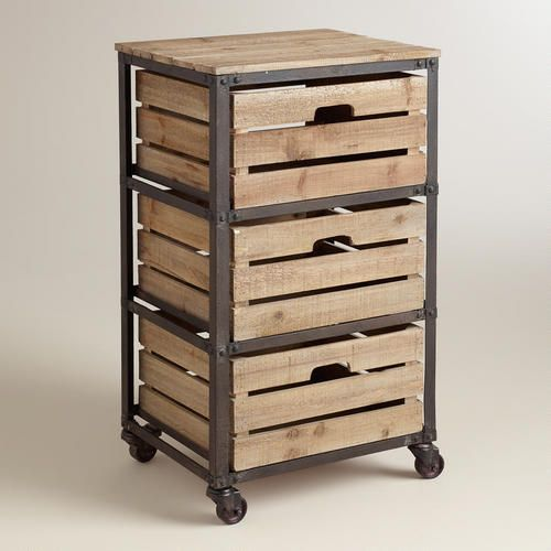 Metal and Wood 3-Drawer Josef Rolling Cart >> #WorldMarket Storage and Organization