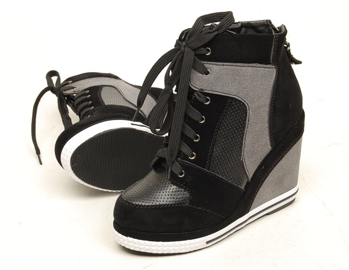 Women Wedge High Heels High Top Sneakers Tennis Shoes Boots Black US 5