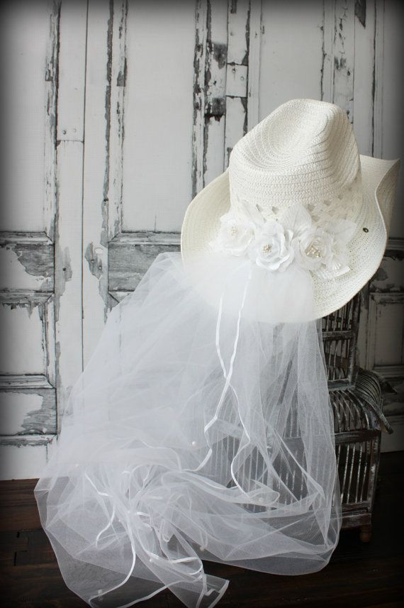 Cowgirl hat-Bridal Cowgirl Ceremony Hat-western wedding-rustic wedding-Cowgirl hat and veil-cowgirl wedding