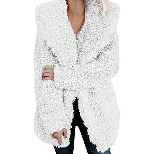 ICNCVKX Sheepskin CoatSchaffell Coat DamenWarmer Down Jacket Damen Mantel DamenWaRmenKüNstlicheWollMantel Jacket Lapel Winter (L White) #Damenmo …