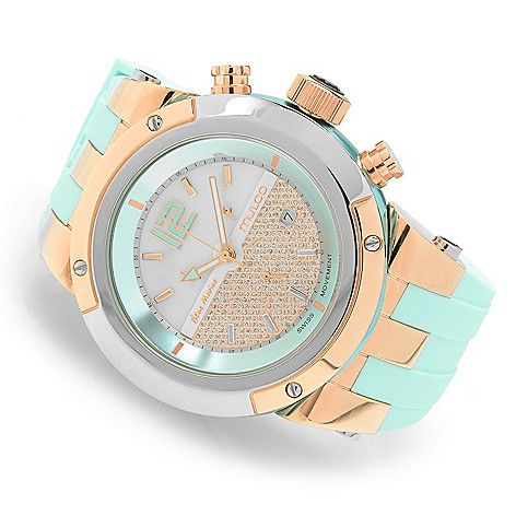 632-679 - MULCO Women's Blue Marine Swiss Quartz Chronograph Stainless Steel Silicone Strap Watch