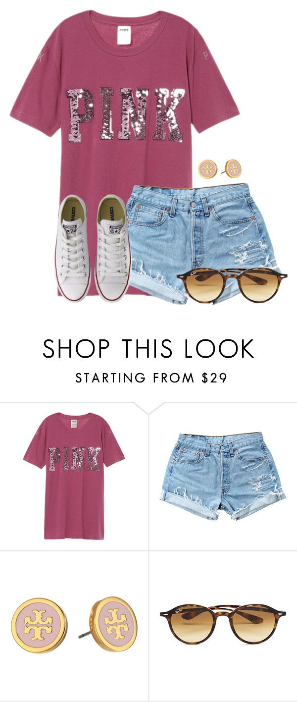 """""""When you start to get that tan line from tennis..."""" by flroasburn on Polyvore featuring Levi's, Tory Burch, Ray-Ban and Converse"""