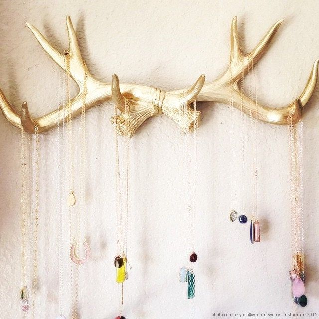 Faux Deer Antlers Rack in Gold Deer Antler by WhiteFauxTaxidermy